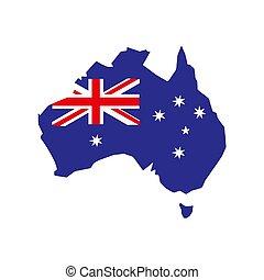 fehér, 10., ausztrália, térkép, illustration., vektor, lobogó, háttér., eps