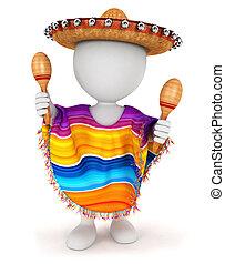 fehér, 3, mexikói, emberek