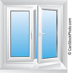 fehér, ablak, műanyag
