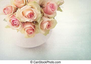 fehér, agancsrózsák