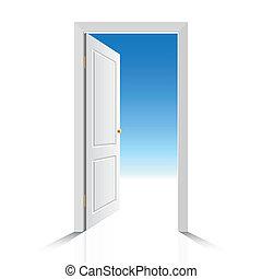 fehér, ajtó, kinyitott