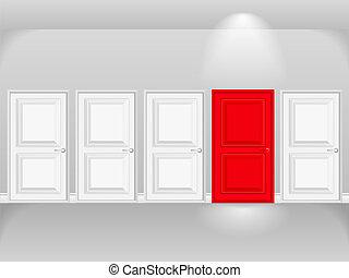 fehér, ajtó, piros, ajtók, evez