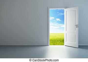 fehér, ajtó, szoba, üres, kinyitott