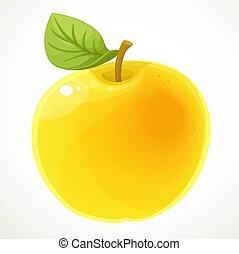 fehér, alma, háttér, sárga, elszigetelt