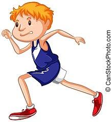 fehér, atléta, futás, háttér