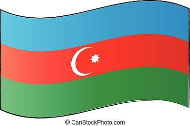 fehér, azerbajdzsán, ábra, vektor, lobogó, háttér
