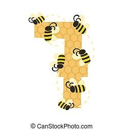 fehér, bees., szám 7, 7, ábra, vektor, háttér.