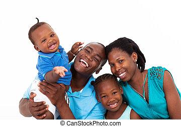 fehér, boldog, elszigetelt, család, afrikai
