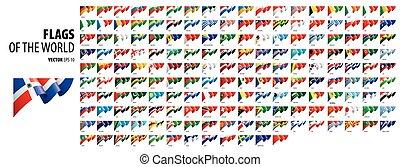 fehér, countries., háttér, zászlók, vektor, nemzeti, ábra