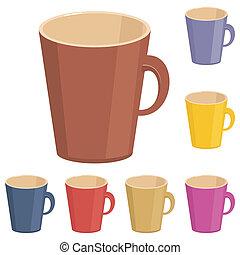 fehér, csészék, üres, háttér