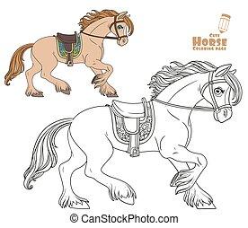 fehér, csinos, hám, előmozdít, harnessed, színezés, karikatúra, oldal, fut, háttér, ló