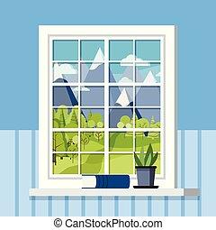 fehér, edény, style., berendezés, műanyag, keret, ablak, ablakpárkány, lakás, szoba, karikatúra, könyv