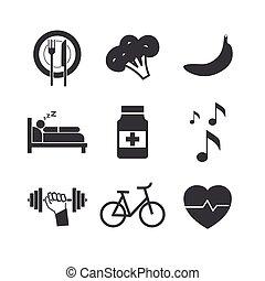 fehér, egészség, háttér, ikonok