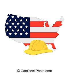 fehér, egyesült államok, egyesült, sárga, biztonság, háttér, térkép, sisak