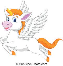 fehér, egyszarvú, ló, karikatúra