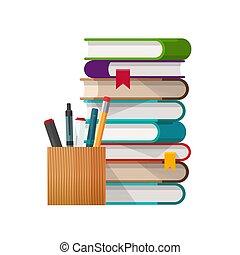 fehér, előjegyez, pohár, könyvtár, izbogis, oktatás, vektor, elszigetelt, megír, ábra, fogalom, rudacska, clipart, karikatúra, lakás, tanul, vagy, kazal, idő