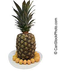 fehér, elszigetelt, háttér, ananász, tányér, érett