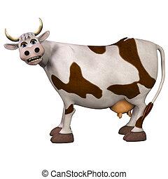 fehér, elszigetelt, háttér, tehén