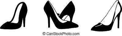 fehér, elszigetelt, nő, háttér, ikon, cipők