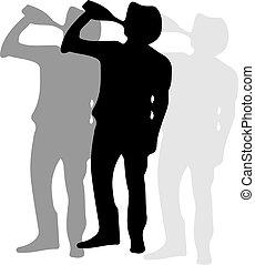 fehér, emberi, ikon, elszigetelt, háttér, részeg