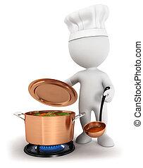 fehér, főzés, 3, emberek