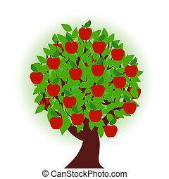 fehér, fa, alma, háttér