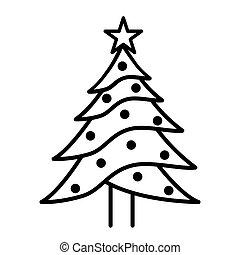 fehér, fa, karácsony, háttér, ikon
