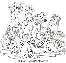 fehér, fekete, gyerekek, jézus
