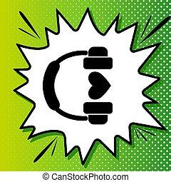 fehér, fekete, popart, zöld háttér, ikon, fejhallgató, heart., spots., illustration., loccsanás