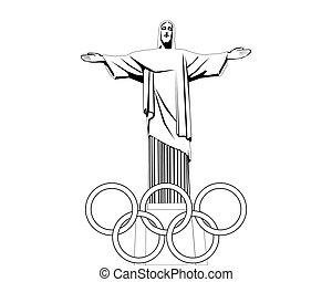 fehér, fekete, rajz, szobor, jézus