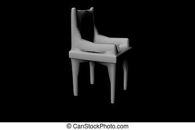 fehér, fekete, szék, render, 3