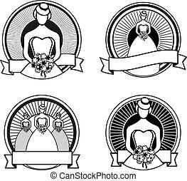 fehér, fekete, topog, esküvő