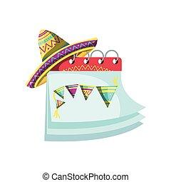 fehér, figyelmeztetés, háttér, kalap, naptár, mexikói