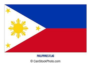 fehér, flag., háttér., ábra, nemzeti, vektor, lobogó, fülöp-szigetek