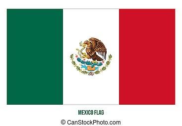 fehér, flag., háttér., ábra, nemzeti, vektor, mexico lobogó