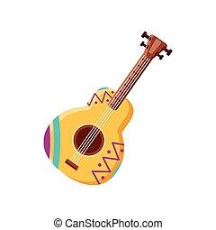fehér, gitár, mexikói, háttér