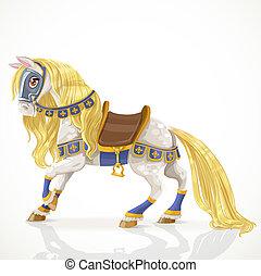 fehér, gyönyörű, arany-, hám, királyi, sörény, ló