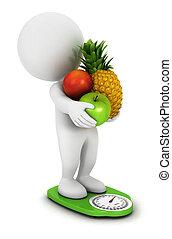 fehér, gyümölcs, 3, diéta, emberek
