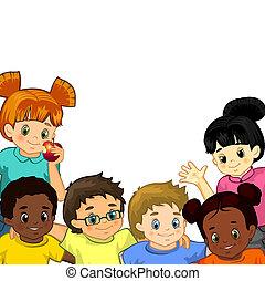 fehér, gyerekek, háttér