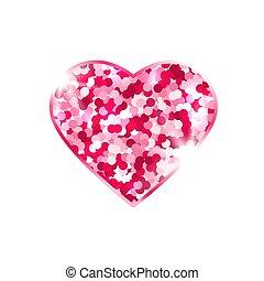 fehér, háttér., love., tervezés, jelkép, elem, szív, card., pattog, fénylik, rózsaszínű, fényes, elszigetelt, valentines, vektor, ábra, stars., nap, romantikus