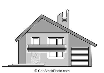 fehér ház, háttér, rajz