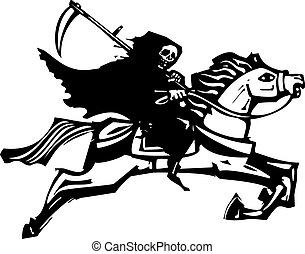 fehér, halál, ló