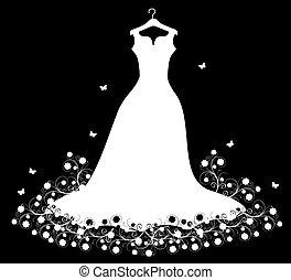 fehér, hirdetmények, ruha, esküvő