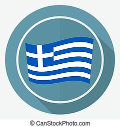fehér, hosszú, lobogó, görögország, árnyék, karika, ikon