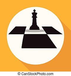 fehér, hosszú, sakkjáték, karika, árnyék, ikon