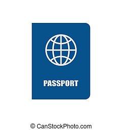 fehér, ikon, elszigetelt, útlevél, vektor