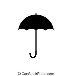 fehér, ikon, elszigetelt, esernyő, vektor