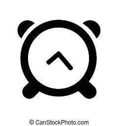 fehér, ikon, elszigetelt, háttér, óra