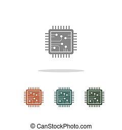 fehér, ikon, processor, elszigetelt, háttér