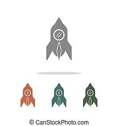 fehér, ikon, rakéta, elszigetelt, háttér